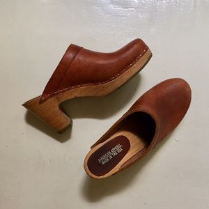 American Apparel Brown Leather Wooden Clogs
